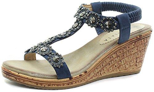 Boulevard Hali Wedge Elasticated Flower Trim Halter Back Summer Sandals - Blue PU, Ladies UK 3/EU 36