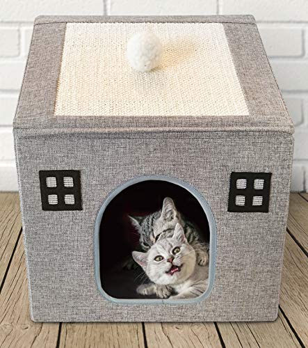 House of Paton Cat Pet House Indoor cat Bed | Purrfect for Cats or Small Dogs | Includes Scratching Area on The roof, a…