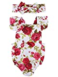 Newborn Kids Baby Girls Clothes Floral Jumpsuit Romper Playsuit + Headband Outfits (0-6 Months)