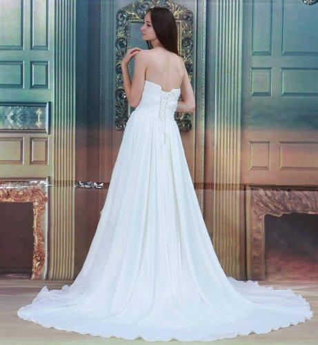 Chiffon Herz GEORGE Ausschnitt Hochzeitskleid Kapelle Strand Weiß BRIDE Schleppe qCfBRnft5