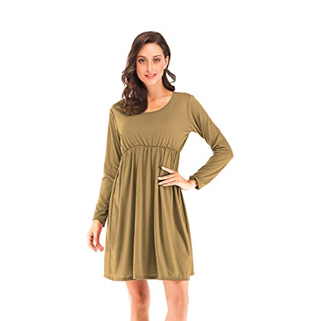 fb6bdc7be399 Women s Casual O Neck Long Sleeve Tunic Pleated Swing Midi T-Shirt Tunic  Dress Tunic