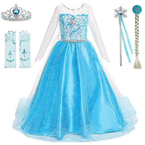 Snow Queen Princess Elsa Costumes Birthday Party Halloween Costume Dress Up for Little Girls with Wig,Crown,Mace,Gloves Accessories 3-12 Years(Blue with Accessories,Age:10-12 Years Height 59