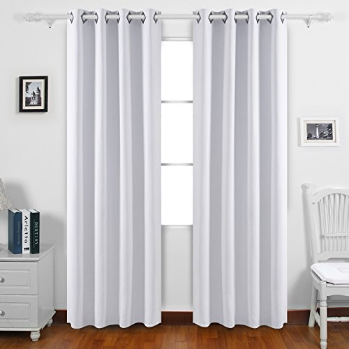 Deconovo Solid Color Blackout Curtains Room Darkening Curtains Grommet Curtains Insulated Curtains for Dining Room 52W x 84L Inch Grayish White 2 Drapes