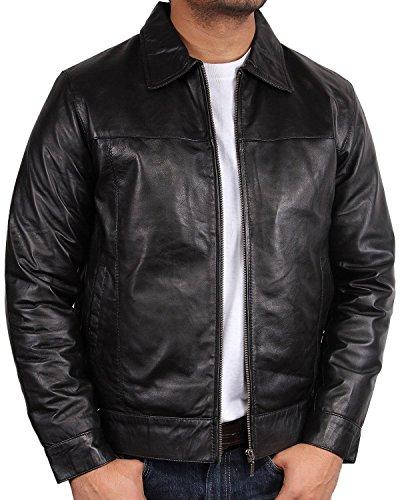 Brandslock Mens Biker Jacket Harrington Leather Bomber XXX-Large (Distressed Leather Bomber)