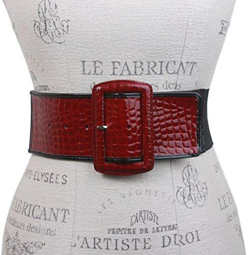 Ladies High Waist Trimmed Edge Croco Print Patent Leather Fashion Stretch Belt Color: Red Size: M/L 30-36 ()