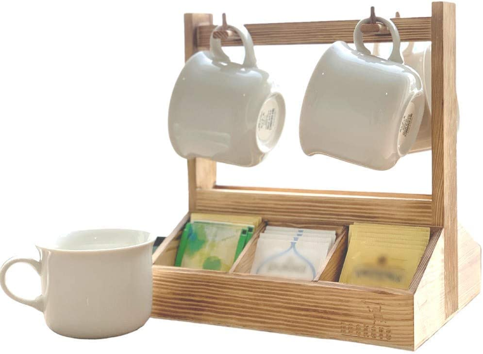 NEOKAVE Wood Tea Bag Storage Organizer with two sided tea stand and Mug Rack Holder - Coffee pod storage - Countertops, Pantry - Holds Beverages, Bags, Cups, Pods, Packets, Coffee Condiment.