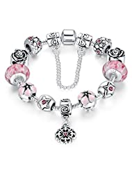 Presentski Silver Plated Charm Bracelet with Safe Chain and Lampwork Charm Beads Gift for Women and Teen Girls
