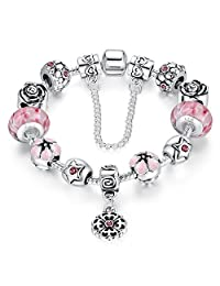 Presentski Fashion Charm Bracelet for Teen Girls and Women with Safe Chain Flower Themed Charms