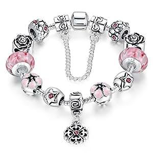 European Style Rose Flower Handmade Carved Beads Pink Murano Glass Bead Flowers Dangle Charms Bracelets Woman Jewelry 18cm