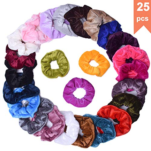 (Velvet Scrunchies Ponytail Holder Hair Bands Scrunchy Hair Ties Ropes Scrunchies for Women or Girls Hair Accessories - 25 Assorted Colors Hair)