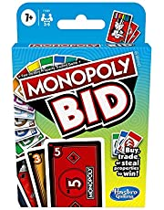 Hasbro F1699 Monopoly Bid Card Game – Quick Playing for 4 Players and Easy to Learn- Buy, Trade, or Steal Properties – Fun Family Games for Kids- Ages 7+