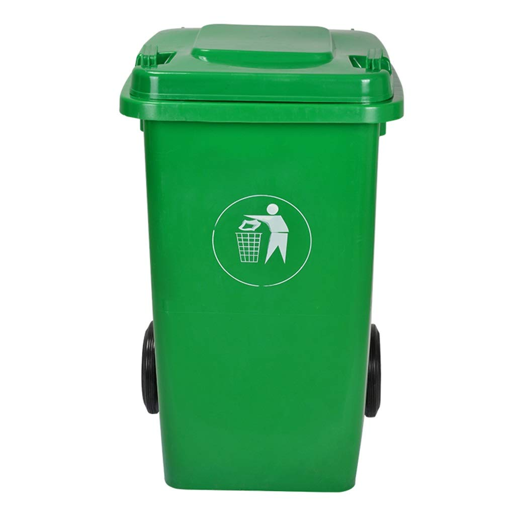 Trash can Waste Bin Thicken Outdoor Environmental Classification Plastic with Lid Flip Outdoor Trash Can Hotel Large Trash (Color : Green, Size : 100L)