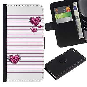 For Apple Iphone 5 / 5S Case , Pink Silver Glitter White Lines Pattern - la tarjeta de Crédito Slots PU Funda de cuero Monedero caso cubierta de piel