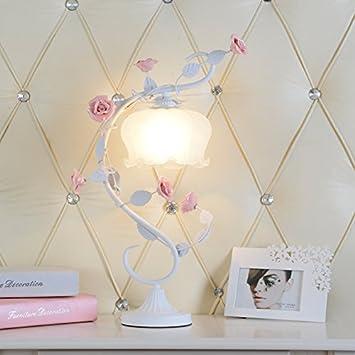 Europäische Keramik Rose Tischlampe Rosa Blumen Schlafzimmer Nachttisch  Wohnzimmer Esszimmer Mädchen Dimmbare Dekorative Lampe E27 Birne