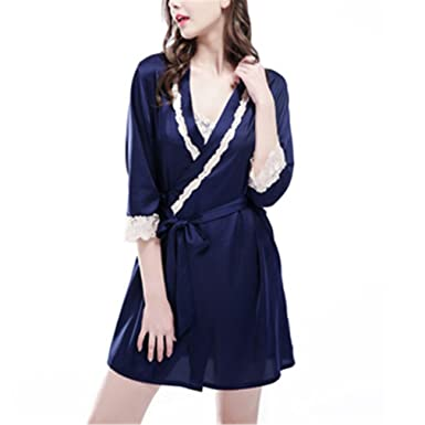 Sexy Womens Home Wear Bathrobe + Nightdress Two Piece Robe & Gown Sets Pyjamas Female Lace