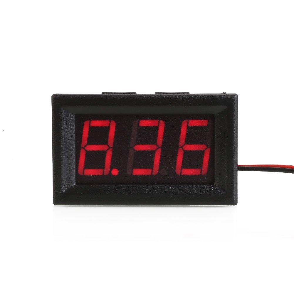 Vessos デジタル DC レッド LED ディスプレイ 電圧計 パネル 電圧 ボルト メーター ゲージ 2 ワイヤー   B07KBGQXRV