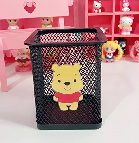 YOURNELO Cute Cartoon Hollow-Out Pen Pencil Holder Desk Organizer Accessories (Winnie the Pooh Black) (Pooh The Pen Winnie)