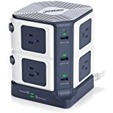 BESTEK Surge Protector 8-Outlet and 40W 6-Port Smart USB Power Strip with 1500 Joules Surge Protection,ETL Listed