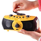Mini Yellow Boombox Mp3 Player with USB Port for Bluetooth Adapters Plays Mp3 and Other Digital Files From High Capacity Sd Card Slot and USB Drive, Also an Emergency and Jobsite Radio with Ultra-bright LED Flashlight, Emergency Siren with Flashing Light, AUX Audio Input to Act As Speaker System for Laptop, Cell Phone, Mp3 Player, Computer; This Emergency Radio Is Rechargeable By Hand Crank Dynamo or USB Port, Charges Cell Phone and Other Mobile Devices. The Miniboomer Also Has Headphone Jack and Makes a Great Boombox for Kids As Well As Adults.