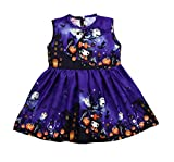 Girls Dresses, SHOBDW Toddler Kids Baby Girls Fashion Halloween Pumpkin Cartoon Princess Outfits Clothes Dress (2-3 Years, Q-Purple)