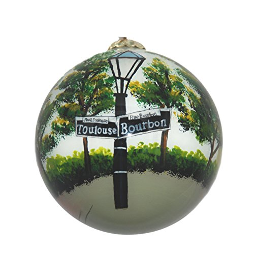 Hand Painted Glass Christmas Ornament - New Orleans Street Signs (Decor Studio Christmas Ornament)