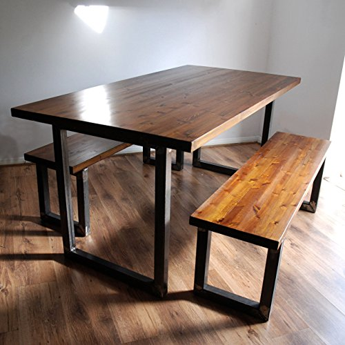Industrial Rustic Dining Table Optional Benches Solid Wood Metal - Distressed wood dining table with bench