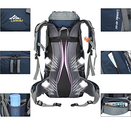 Loowoko Hiking Backpack 50L Travel Daypack Waterproof with Rain Cover for Climbing Camping Mountaineering (Dark Blue)