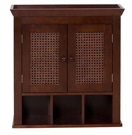 Elegant Dark Espresso Bathroom Home Wall Storage Shelves Cabinet Shelf Unit