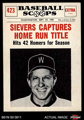 1961 Nu-Card Scoops # 423 Captures Home Run Title Roy Sievers Chicago White Sox (Baseball Card) Dean's Cards 4 - VG/EX White Sox