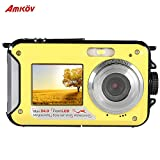 Andoer AMKOV Selfie Self-portrait Digital Camera Double Dual LCD Display 2.7'' Main Screen HD 24MP 16X Digital Zoom 1080P 30FPS Anti-shake Camcorder Video Recorder Waterproof