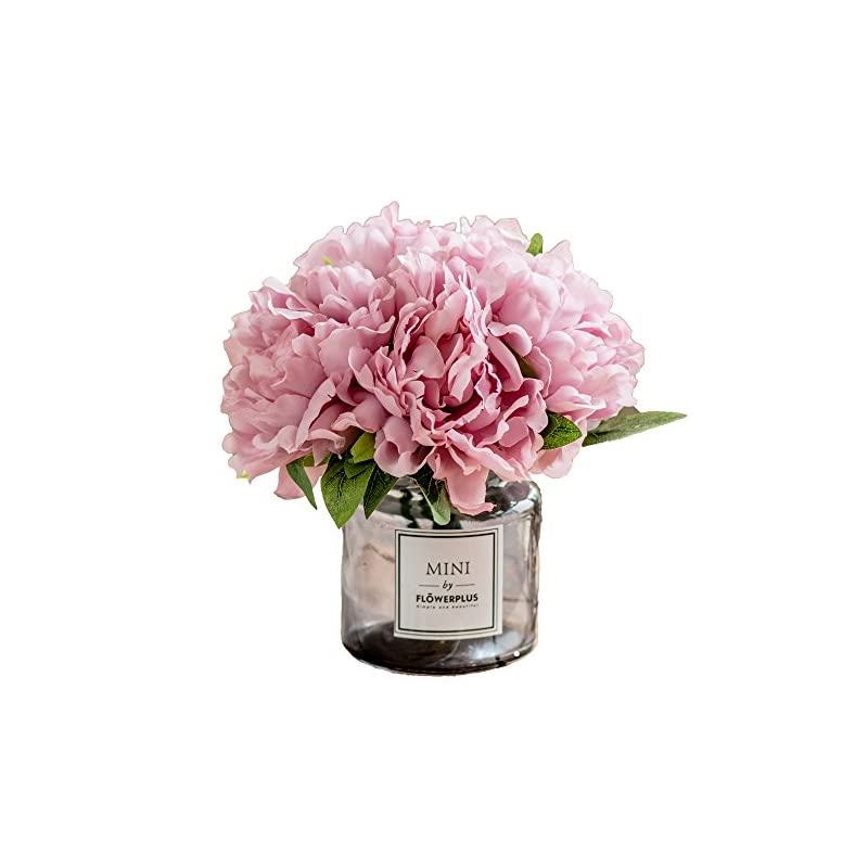 silk flower arrangements billibobbi ,artificial flowers with vase, fake peony flowers in gray vase,faux flower arrangements for home decor,light lilac,small