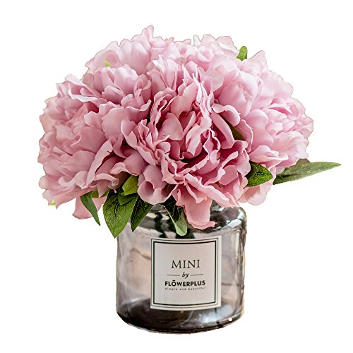 - Fresh home,Artificial Flowers with Vase,Flower Arrangements,Silk Peony with Glass Vase,for Home Decoration,The Gift for her,Artificial Flower in Vase