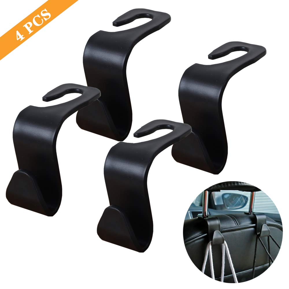 FJCTER Universal Car Vehicle Headrest Hooks with 44 LB Load Capacity Durable Back Seat Hangers with Intimate Design Portable Organizer Holder for Handbag Purse Cloth Grocery 4 PCS