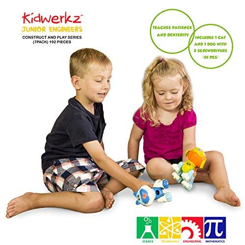 [해외]Kidwerkz Take Apart 장난감 세트 - 고양이 & amp; /Kidwerkz Set of Take Apart Toys - Cat & Dog Models - STEM Building Set - Hours of Fun - 88 Pieces - Engineering Kit for Boys, Girls, Toddlers - Age 3, 4, 5 +Year Old