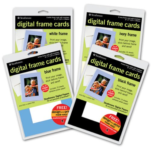"""Price comparison product image Strathmore Digital Photo Frame Cards Ten Pack 5×7"""" - Ivory"""