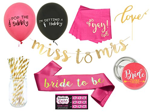 Classy Bachelorette Party Decorations Kit by Blast in a Box | Classy Balloons, Sash, Straws, Banner, Napkins, Bride Tribe Pins and more Engagement or Bachelorette Party -