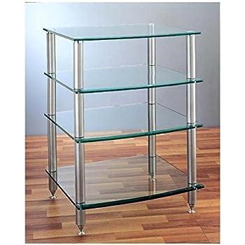 Amazon.com: VTI AGR-404 4 Shelf Silver Glass Audio Rack - Black ...