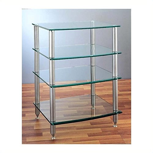 VTI AGR-404 4 Shelf Silver Glass Audio Rack - (Vti 4 Shelf)