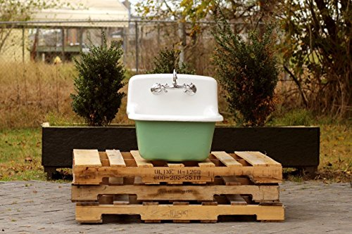 Vintage Porcelain Sink (Vintage Style Deep Utility Sink Antique Inspired High Back Cast Iron Porcelain Farm Sink Package Arsenic Green)