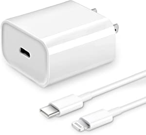 iPhone Charger Fast Charging,【Apple MFi Certified】 20W USB C Fast Charger Block with 6FT USB-C to Lightning Cable for iPhone 12/12 Pro/12 Pro Max/11/11 Pro Max/Xs Max/XR/X, iPad, AirPods Pro