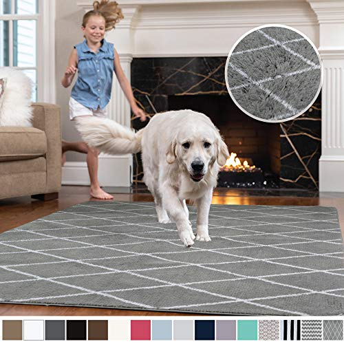 Gorilla Grip Original Faux-Chinchilla Area Rug, 4x6 Feet, Super Soft and Cozy High Pile Washable, Modern Rugs, Luxury Shag Carpets for Home, Nursery, Bed and Living Room, Diamond: Dark Gray and White