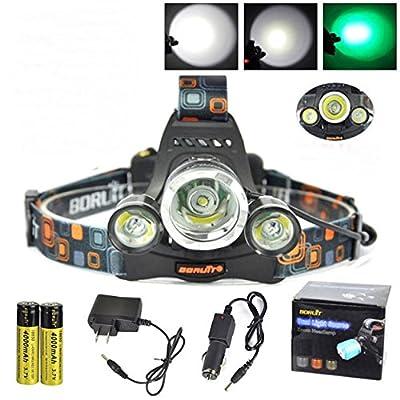 1 Set Reasonable Fashionable 12000 Lumens XM-L T6+2R Green 3 LED Flashlights Headlamp Headlight Ultra Xtreme Tactical Bright Light Running Hiking Hunting Fishing Camping Lights w/ 18650 AC Charger