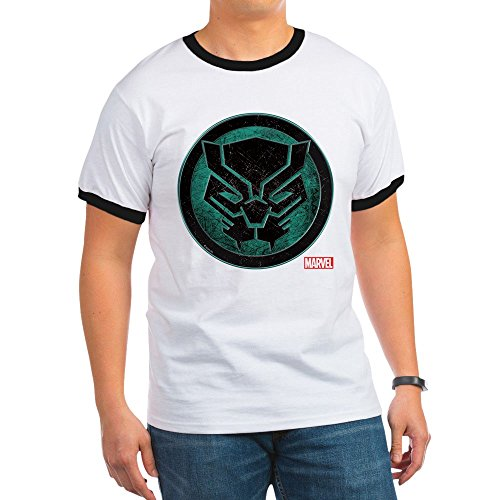 CafePress Black Panther Grunge Icon - Ringer T-Shirt, 100% Cotton Ringed T-Shirt, Vintage Shirt Icon Ringer