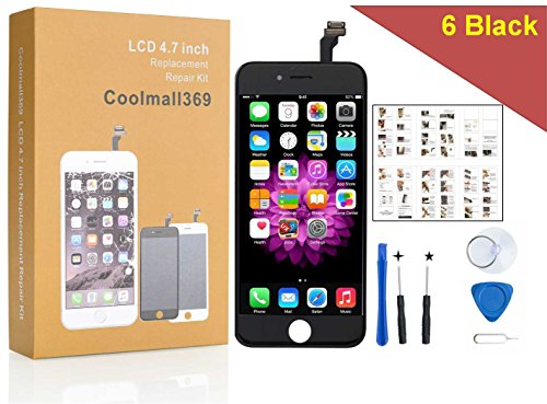 Price comparison product image iPhone 6 Screen Replacement, Coolmall369 4.7 Inch LCD Touch Screen Digitizer Frame Assembly Set With Free Tool Set Included (Black)
