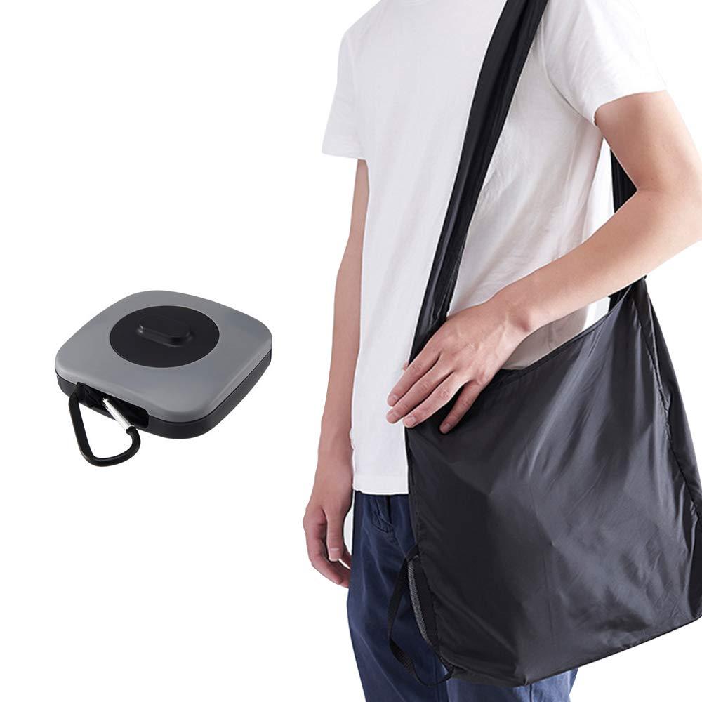 Tomone Wiederverwendbare Faltbare Einkaufstasche mit Angebrachten Beutel Umweltfreundlich Reisetasche Dauerhaft und Leicht (Graues Quadrat)