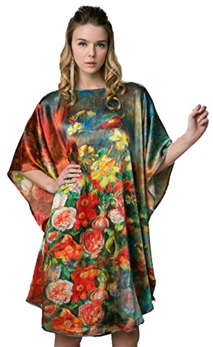 Grace Silk 100% Silk Nightgown, Floral Painting, Muticoloured