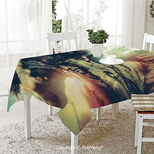 BeeMeng Large dustproof Waterproof Tablecloth,Family Table Decoration,Tattoo Decor,Angel Wings Skull and Heart Full of Blood Symbol of Real Love Image,Red White and Black,70 x 104 inches]()