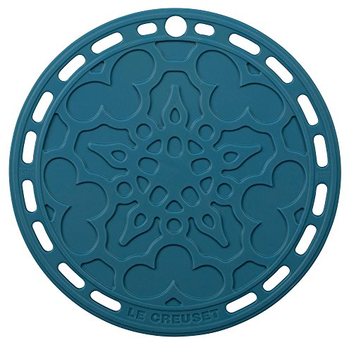 """Le Creuset Silicone 8"""" Round French Trivet, Marine"""