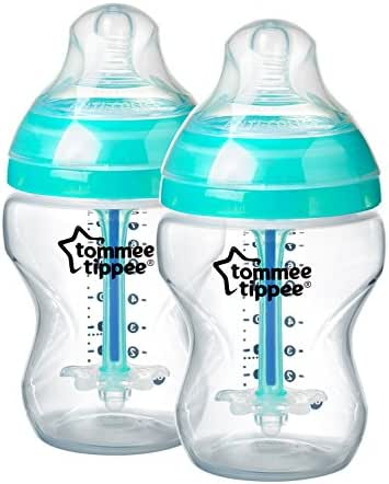 Tommee Tippee Advanced Anti-Colic Baby Bottle, Heat Sensing Technology, Breast-Like Nipple, BPA-Free, 9 Ounce, 2 Count