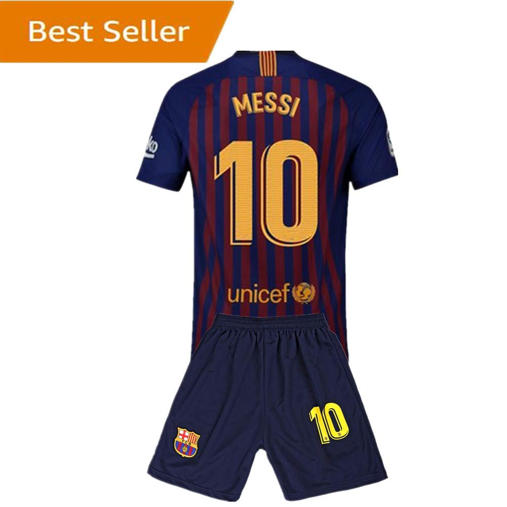 8de9fb41974  10 Messi Barcelona Kids Youth Home Boys Soccer Jersey   Shorts 18-19